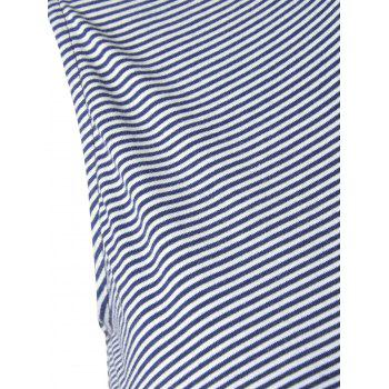 Women's Striped Fashionable Knit T-shirt - BLUE/WHITE BLUE/WHITE