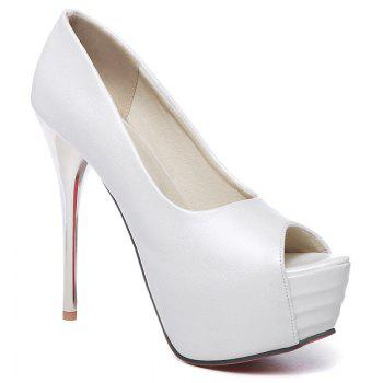 Elegant Candy Color and Stiletto Heel Design Women's Peep Toe Shoes