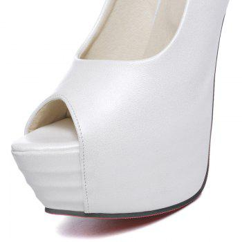 Elegant Candy Color and Stiletto Heel Design Women's Peep Toe Shoes - WHITE WHITE