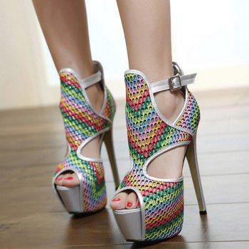 Heel Rainbow Color et Stiletto Design élégant Les femmes d  'Peep Toe Shoes - multicolorcolore 38