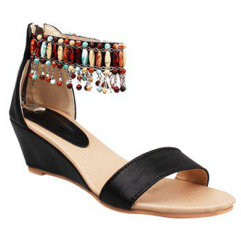 Strappy Ankle Beaded Wedge Sandals