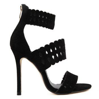 Graceful Hollow Out and Ankle Strap Design Women's Sandals - BLACK 37