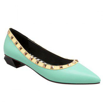 Studded Point Toe Flat Shoes - LIGHT GREEN 41