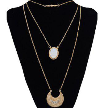 Faux Gem Multilayer Chain Moon Necklace