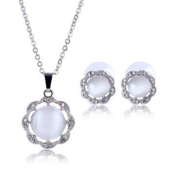 A Suit of Alloy Faux Gem Flower Shape Necklace and Earrings