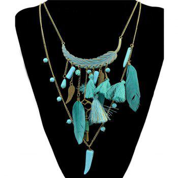 Vintage Faux Turquoise Multilayer Chain Key Feather Leaf Necklace For Women