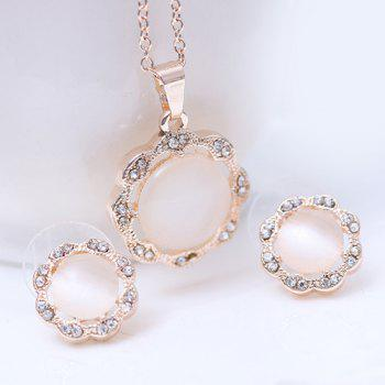 A Suit of Rhinestone Floral Shaped Faux Gem Necklace and Earrings - ROSE GOLD