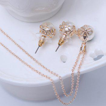 A Suit of Hollow Out Flower Shape Faux Pearl Necklace and Earrings - ROSE GOLD