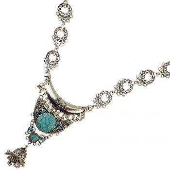 Faux Turquoise Moon Hollow Out Tassel Necklace - SILVER