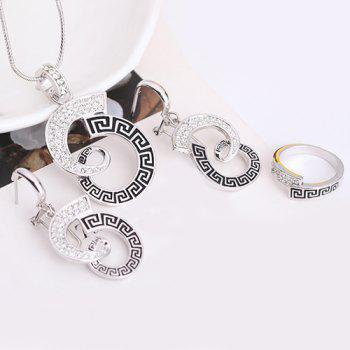 A Suit of Rhinestone Ribbon Shape Cut Out Necklace and Earrings and Ring - SILVER