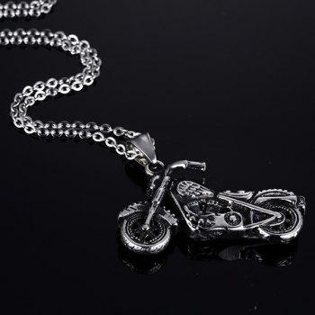 Punk Style Motorcycle Shape Necklace - SILVER