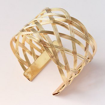 Hollow Out Alloy Geometric Cuff Bracelet - GOLDEN