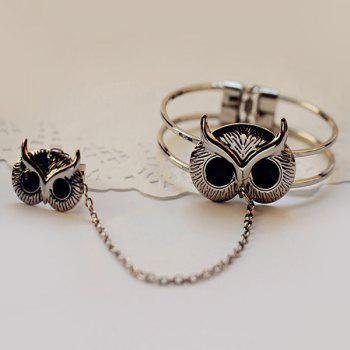 Faux Gem Embossed Owl Bracelet with Ring - SILVER
