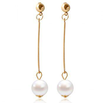 Pair of Faux Pearl Bead Geometric Earrings