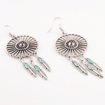 Retro Hollow Out Flower Faux Turquoise Leaf Pendant Earrings - SILVER