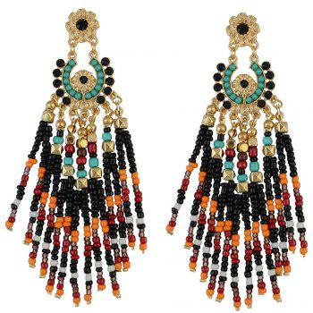 Pair of Rhinestone Flower Bead Tassel Earrings