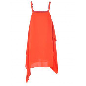 Fashionable Spaghetti Strap Asymmetric Metal Button Dress For Woman