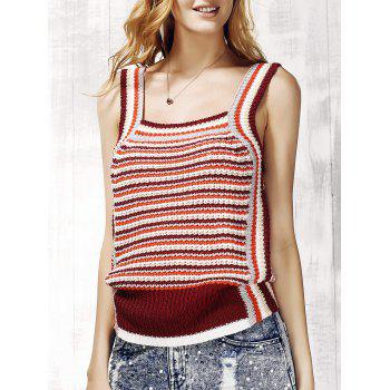 Trendy Striped Knit Tank Top For Women