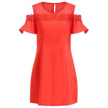 Retro Style Women's Hollow Out Flounce Sleeves Cold Shoulder Dress