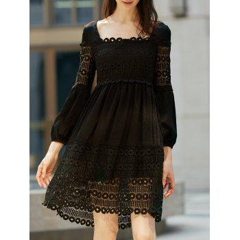 Stylish Square Neck Long Sleeve  Long Sleeve Lace Dress For Women