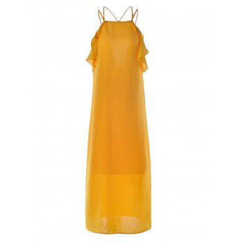 Trendy Cut Out Spaghetti Strap Pure Color Dress For Women