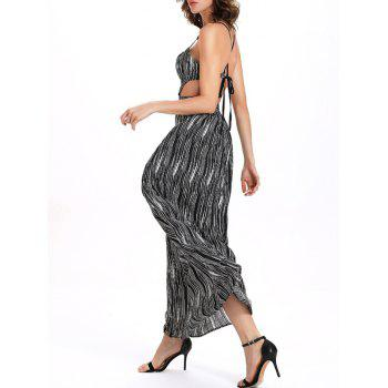 Printed Cutout  Maxi Cami Dress - WHITE/BLACK 2XL