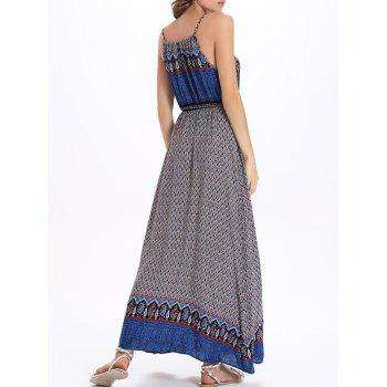 Printed Drawstring Maxi Spaghetti Strap Dress - BLUE 2XL