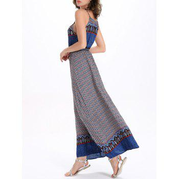 Printed Drawstring Maxi Spaghetti Strap Dress - BLUE BLUE