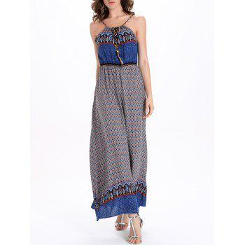 Printed Drawstring Maxi Spaghetti Strap Dress