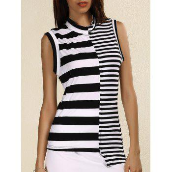 Stylish Striped Stand Collar Sleeveless Sheath T-Shirt For Women
