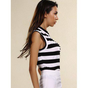 Stylish Striped Stand Collar Sleeveless Sheath T-Shirt For Women - WHITE/BLACK S