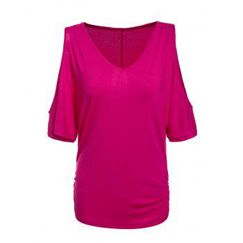 Trendy Half Sleeve V-Neck Pure Color Cut Out Women's T-Shirt