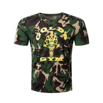 Casual Camo Letter Printed Round Collar Men's T-Shirt