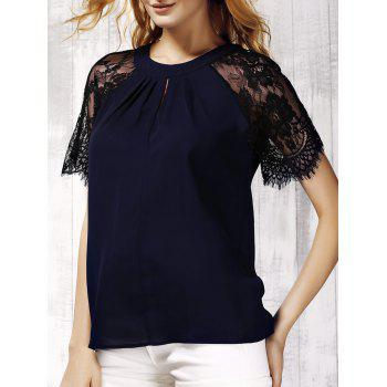 Trendy Lace Spliced Keyhole Neck Short Sleeve Blouse For Women