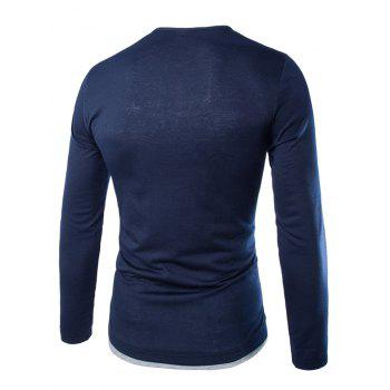 Color Block Long Sleeve Fitted Tee - CADETBLUE XL