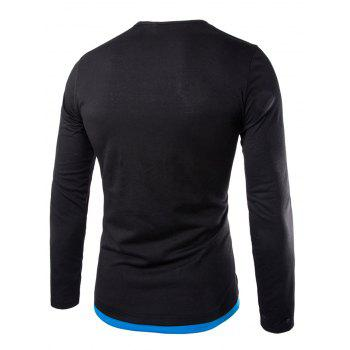 Color Block Long Sleeve Fitted Tee - 2XL 2XL