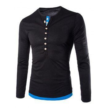 Color Block Long Sleeve Fitted Tee - BLACK 2XL