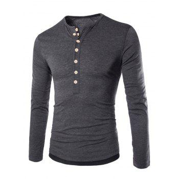 Color Block Long Sleeve Fitted Tee - DEEP GRAY M