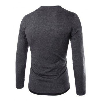 Color Block Long Sleeve Fitted Tee - M M