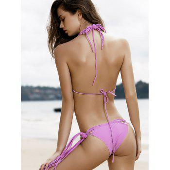 Sexy Purple Women's String Bikini Set - PURPLE S