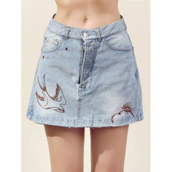 Fashion Embroidery Bleach Wash Denim Mini Skirt For Women