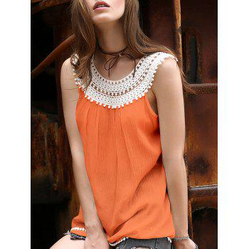 Stylish Round Neck Lace Spliced Hollow Out T-Shirt For Women
