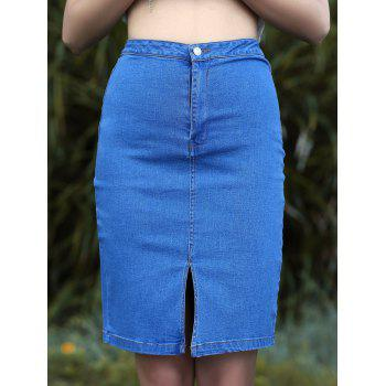 Fashion Front Slit High Waisted Denim Skirt For Women