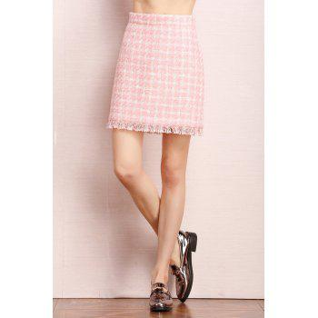 High Waist Checked Fringed Skirt