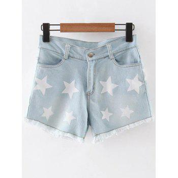 Stylish Straight Leg Star Print Denim Women's Shorts