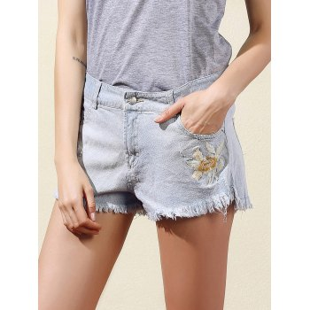 Trendy Embroidered Frayed Women's Denim Shorts
