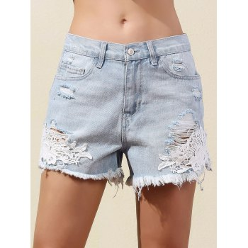 Stylish Straight Leg Lace Splice Denim Women's Shorts