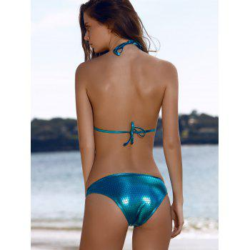 Sexy Style Spaghetti Strap Palm Pattern Bikini Set For Women - BLUE L