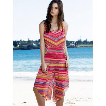 Sweet Spaghetti Strap Striped Colorful Women's Playsuit - COLORMIX S