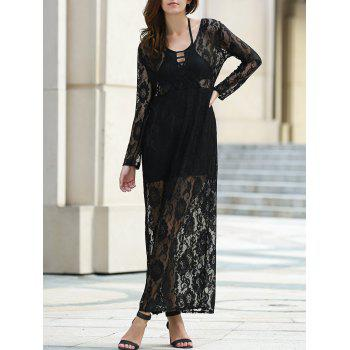 Elegant Long Sleeve Plunging Neckline Dress For Women